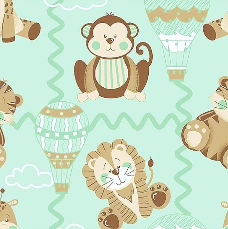 Tecido Tricoline Bichinhos - Coleção Bichinhos Baby - Fundo Verde