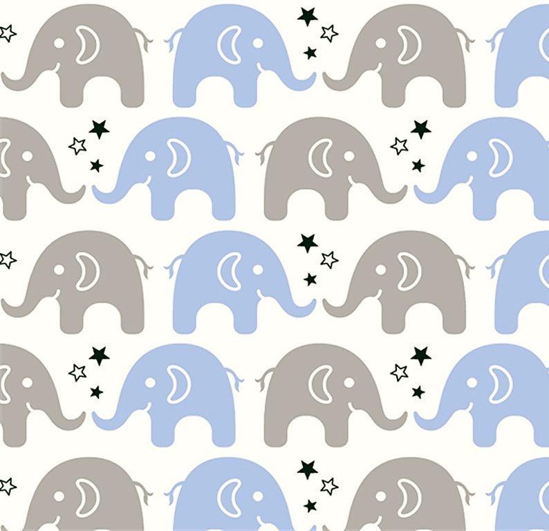 Tecido Tricoline Estampa de Elefante Cinza e Azul Claro