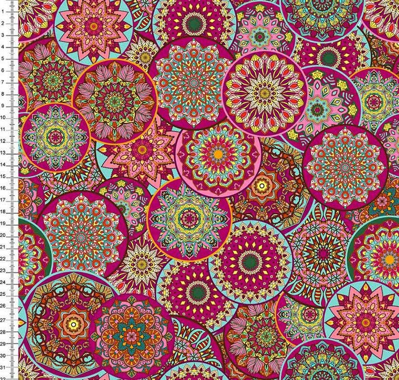 Tecido Tricoline Digital Mandalas Pink