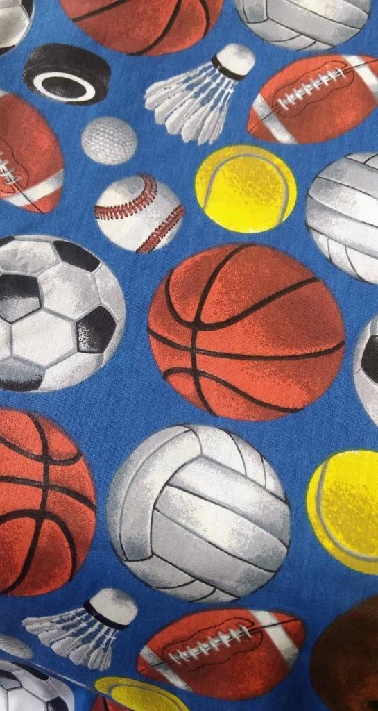 Tecido Tricoline Bolas de Jogos - Fundo Azul
