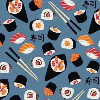 Tecido Tricoline Estampado de Sushi - Fundo Azul - Coleção Sushi Bar