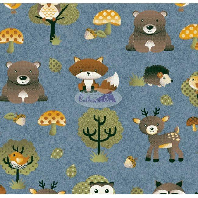 Tecido Tricoline Infantil Animais e Floresta - Fundo Azul Jeans - Coleção Viva a Natureza