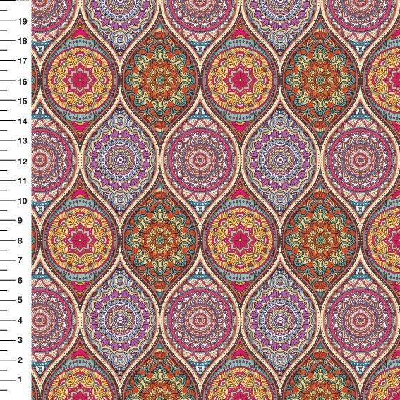 Tecido Tricoline Digital - Mandala em Ondas - Preço de 50cm x 150cm