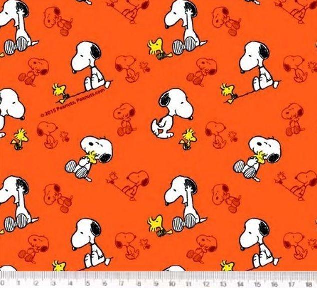 Tecido Tricoline Infantil Snoopy - Fundo Laranja