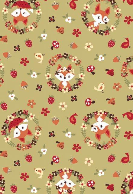 Tecido Tricoline Estampa de Raposa Floral - Fundo Verde - Preço de 50cm x 146cm