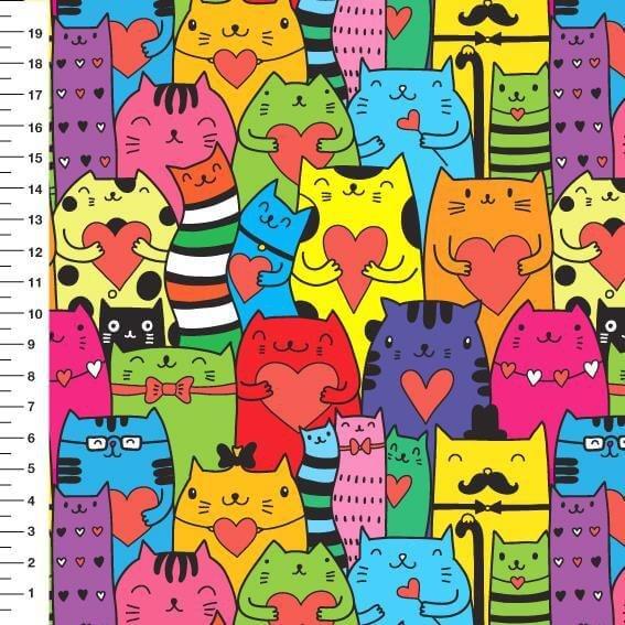 Tecido Digital Gatos Coloridos