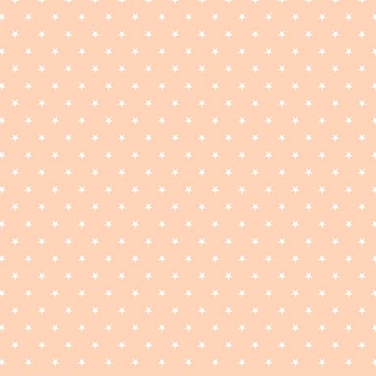 Tecido Tricoline  Estampa Mini Estrela Branca - Fundo Coral - Preço de 50 cm X 150 cm