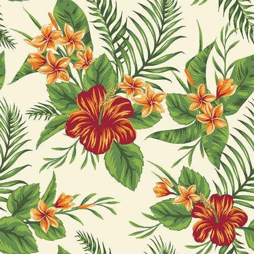 Tecido Tricoline Folhagens e Flor de Hibisco - Fundo Creme - Coleção Paraíso Tropical