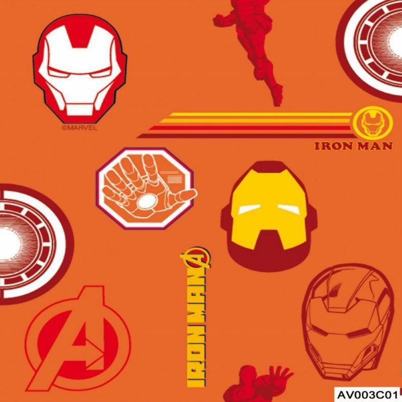 Tecido Tricoline Homem de Ferro 2 Vingadores - Fundo Laranja - Coleção Marvel