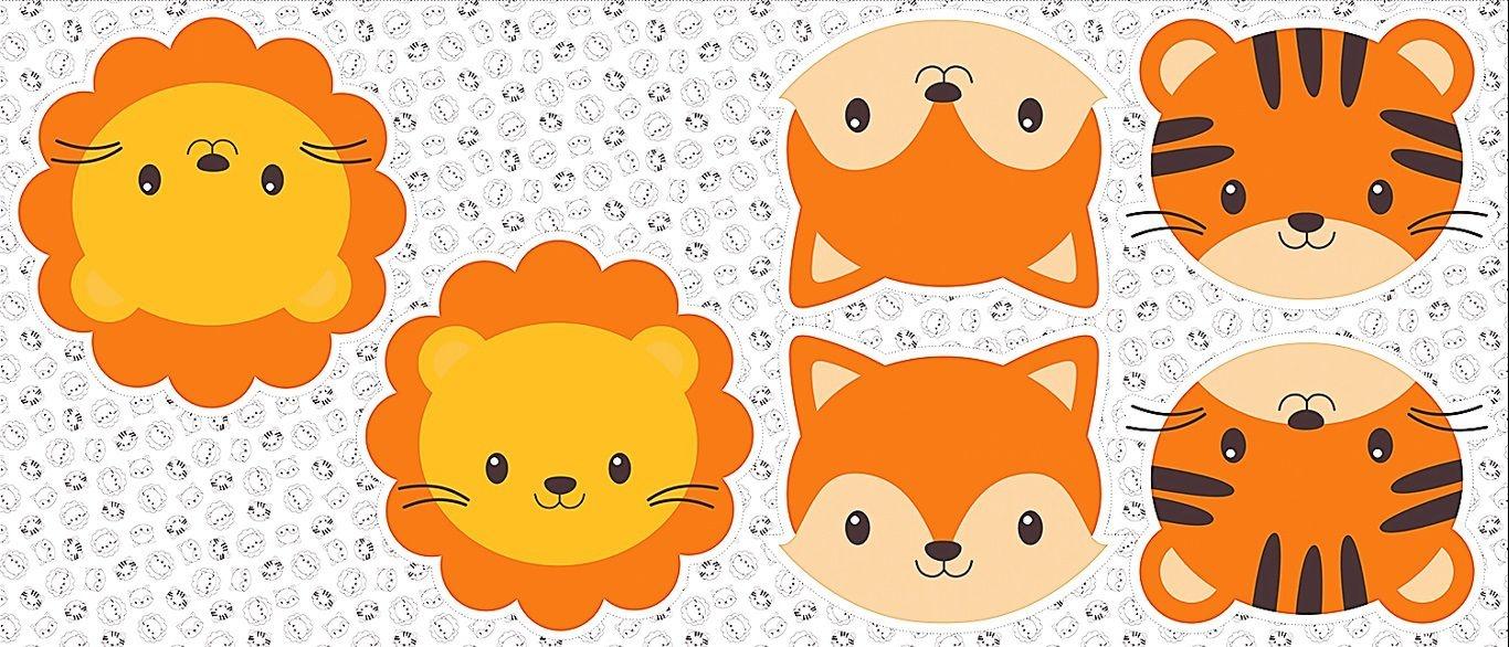 Tecido Tricoline - Pillows - Rostinhos de Leão, Raposa e Tigre - Preço de 60 cm x 150 cm