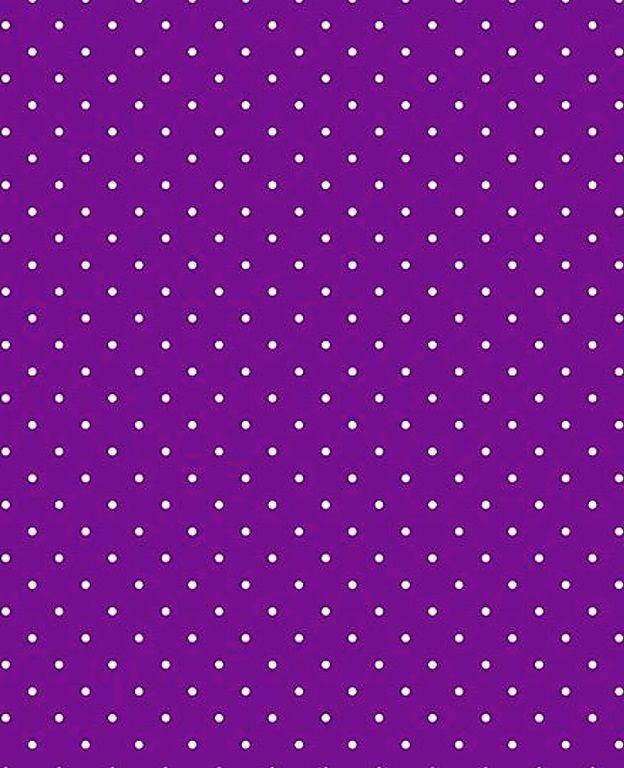 Tecido Tricoline Micro Poá Branco - Fundo Roxo Violeta
