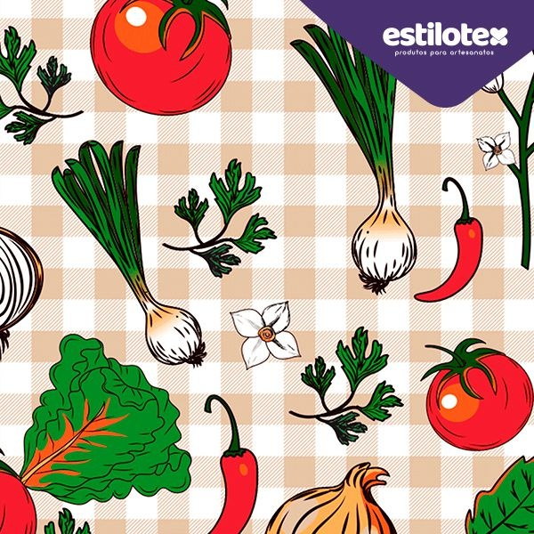 Tecido Tricoline Vegetais - Fundo Xadrez Bege e Branco - Preço de 50 cm x 150 cm