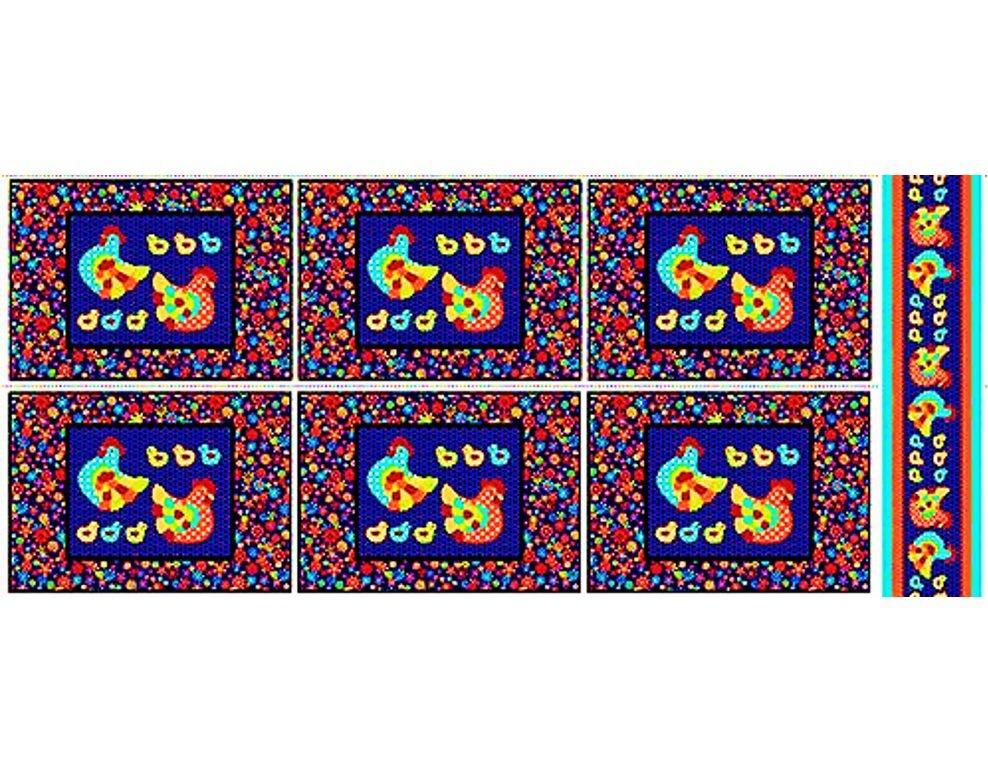 Tecido Tricoline Jogo Americano - Coleção Cocoricó - Fundo Marinho - 60 cm X 150 cm