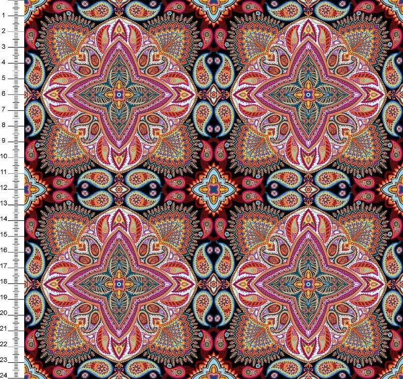 Tecido Digital Mandala - Fundo Preto - Preço de 50cm x 150cm