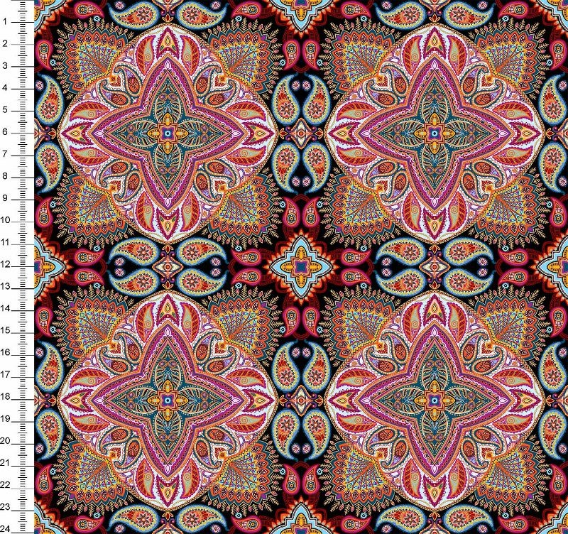 Tecido Tricoline Digital Mandala - Fundo Preto