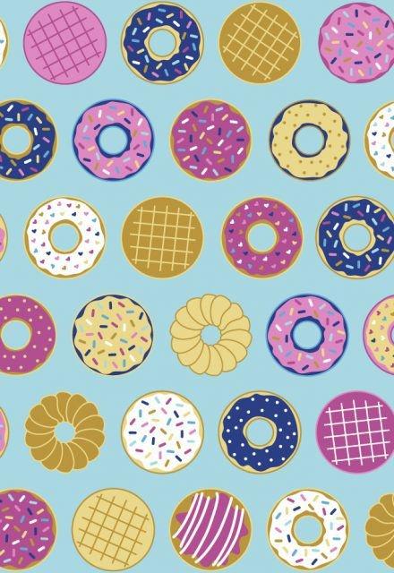 Tecido Tricoline com Estampa de Rosquinhas e Donuts - Fundo Verde Àgua