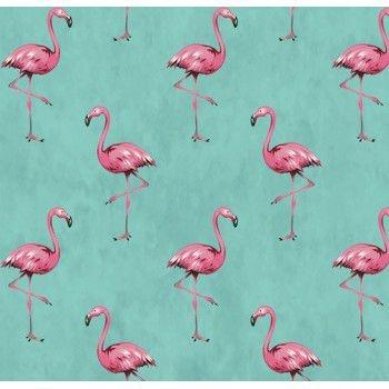 Tecido Tricoline com Estampa de Flamingo - Fundo Tiffany - Coleção Sweet Dreams