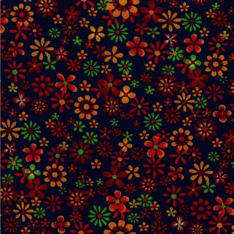 Tecido Tricoline Floral - Fundo Marinho - Coleção Cocoricó - Preço de 45 cm x 150 cm