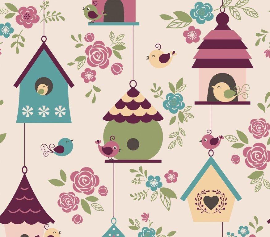 Tecido Tricoline Casas de Passarinhos Rosa - Coleção Som dos Pássaros - Preço de 50 cm X 150 cm