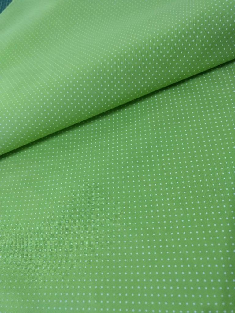 Tecido Tricoline com Micro Poá Branco com Fundo Verde Cítrico