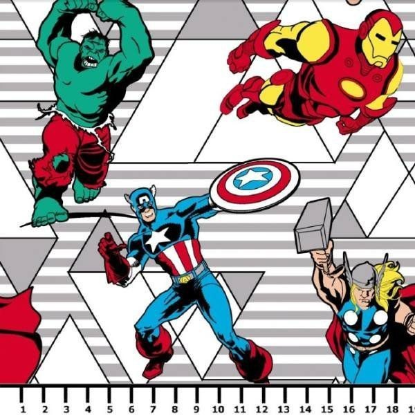 Tecido Tricoline Vingadores Retrô - Fundo Cinza Listrado - Coleção Marvel - Preço de 50 cm x 150 cm