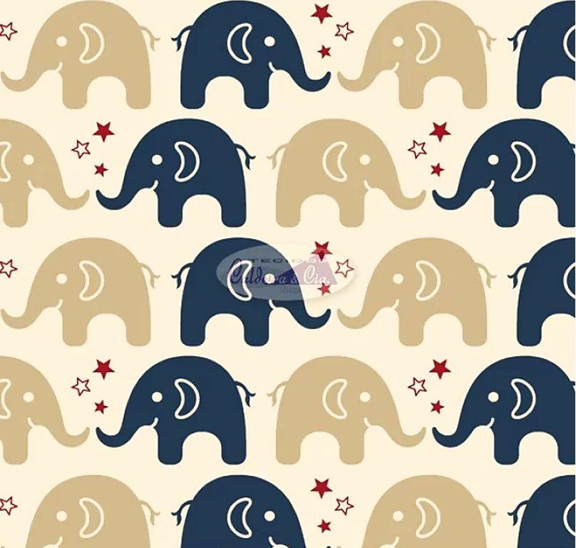 Tecido Tricoline Estampa de Elefante Marinho e Bege