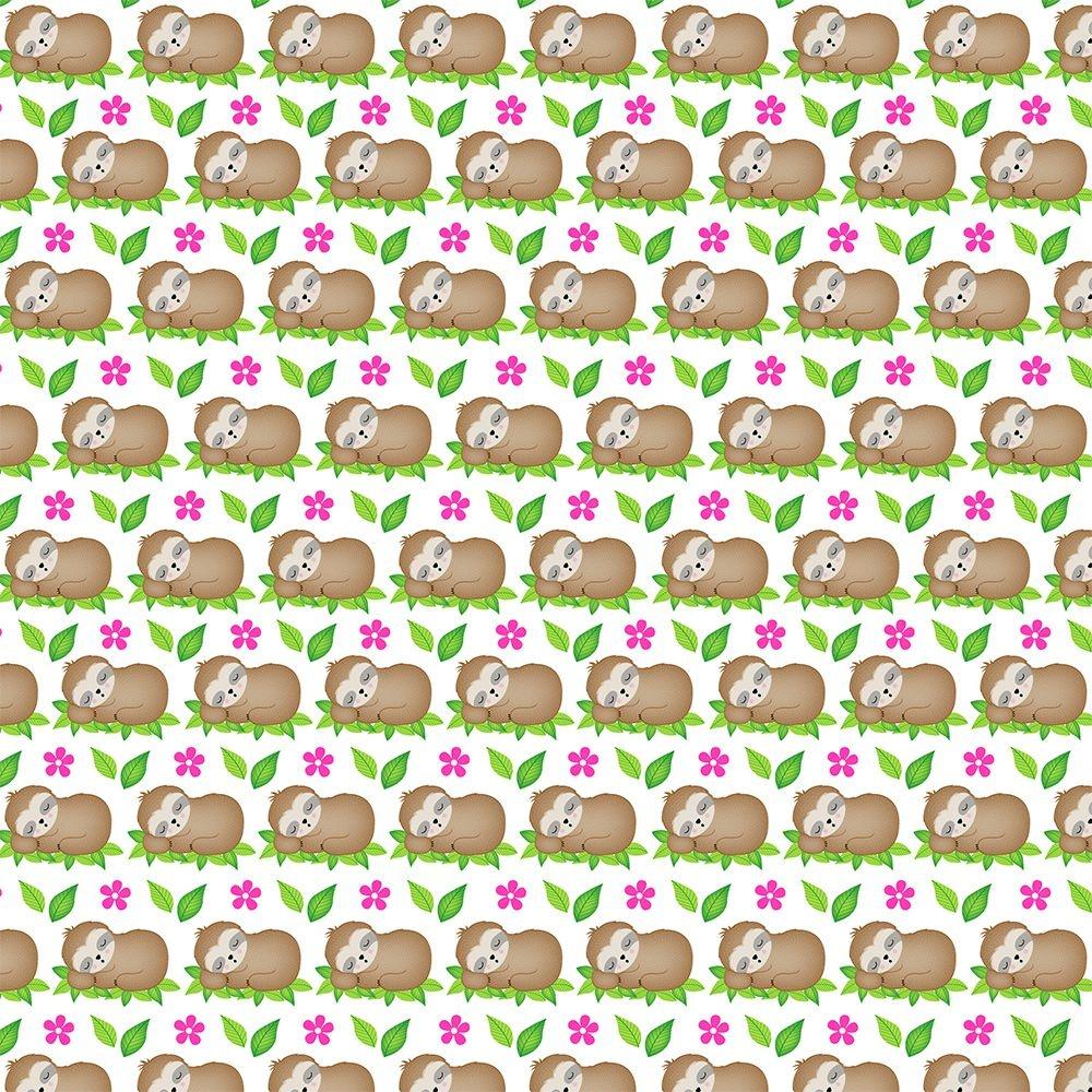 Tecido Tricoline Bicho Preguiça na Folha - Fundo Creme - Coleção Bicho Preguiça - Preço de 50 cm x 150 cm