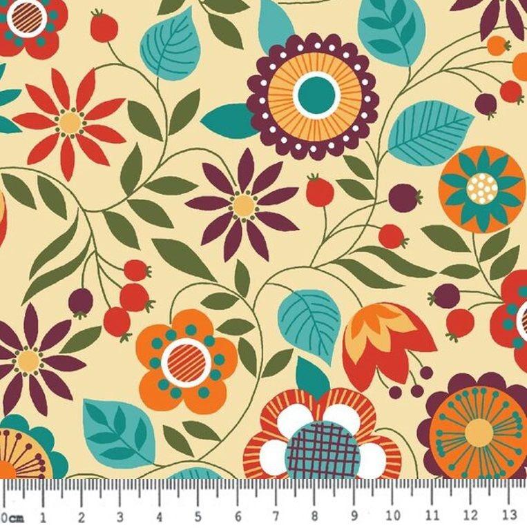 Tecido Tricoline Floral da Coleção Bohêmia (Fundo Creme) - Preço de 50 cm x 150 cm