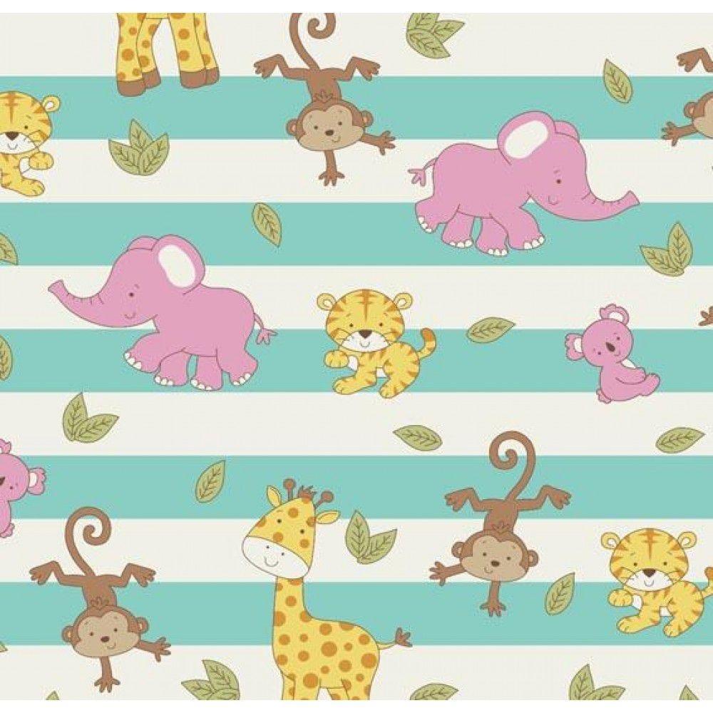 Tecido Tricoline Animais Bebês Tiffany - Coleção Geometric Baby