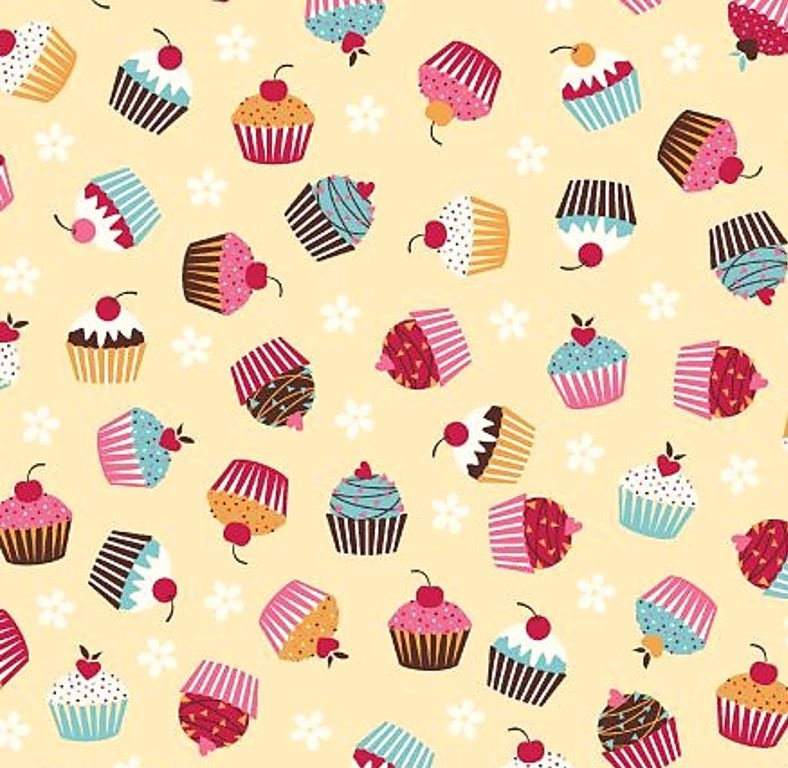 Tecido Tricoline Estampa de Cup Cakes - Fundo Creme