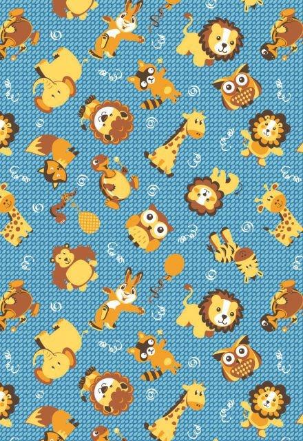 Tecido Tricoline Estampa Infantil Animais: Leão, Raposa, Elefante, Coruja, Coelho, Girafa, Cobra e Macaco - Fundo Azul