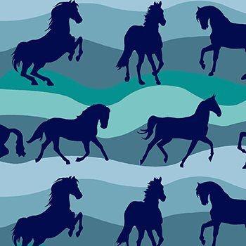 Tecido Tricoline Estampa Cavalos - Tons de Azul - Coleção Cowboys e Índios