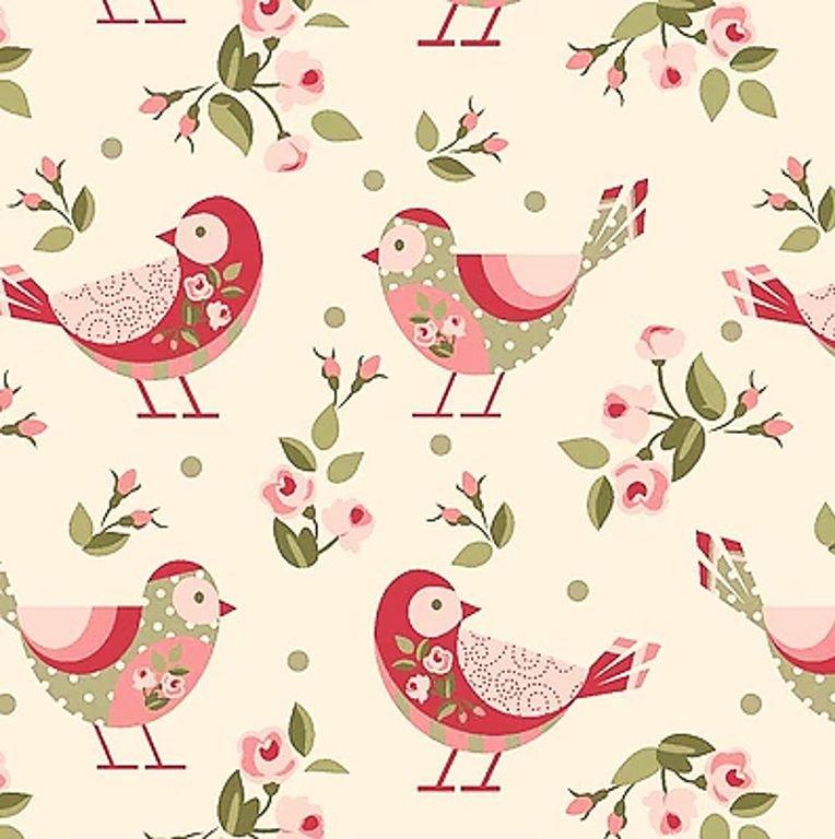 Tecido Tricoline de Pássaros e Flores - Fundo Creme - Coleção Pássaros e Flores