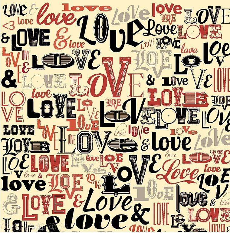 Tecido Tricoline Love Love Love - Fundo Creme - Coleção I Love You