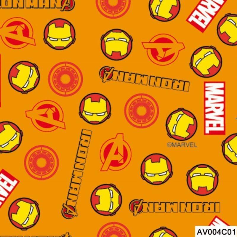 Tecido Tricoline Homem de Ferro 1 Vingadores - Fundo Laranja - Coleção Marvel