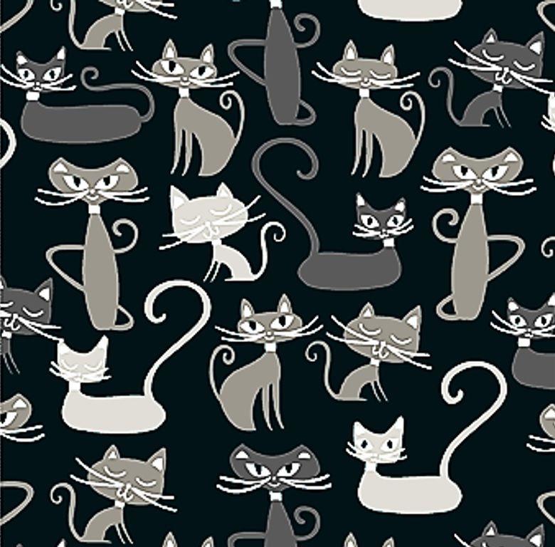 Tecido Tricoline Infantil do Gato Maroto - Fundo Preto - Coleção Gato Maroto - Preço de 50 cm X 150 cm