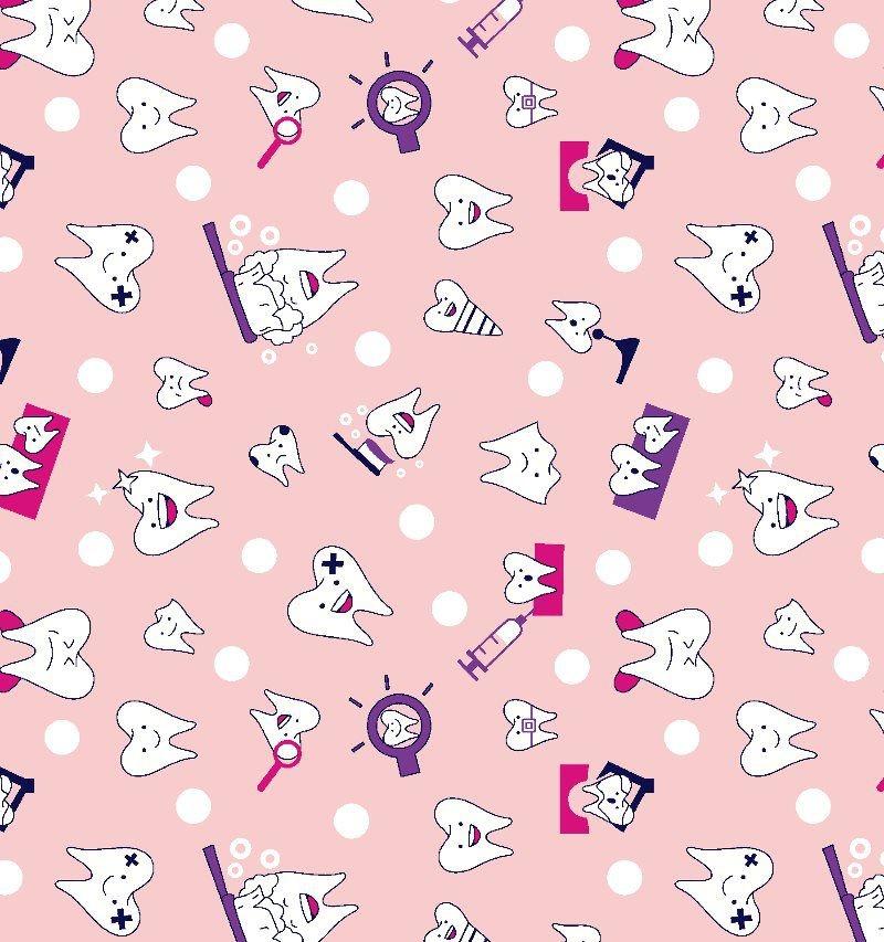 Tecido Tricoline Dentinhos - Fundo Rosa