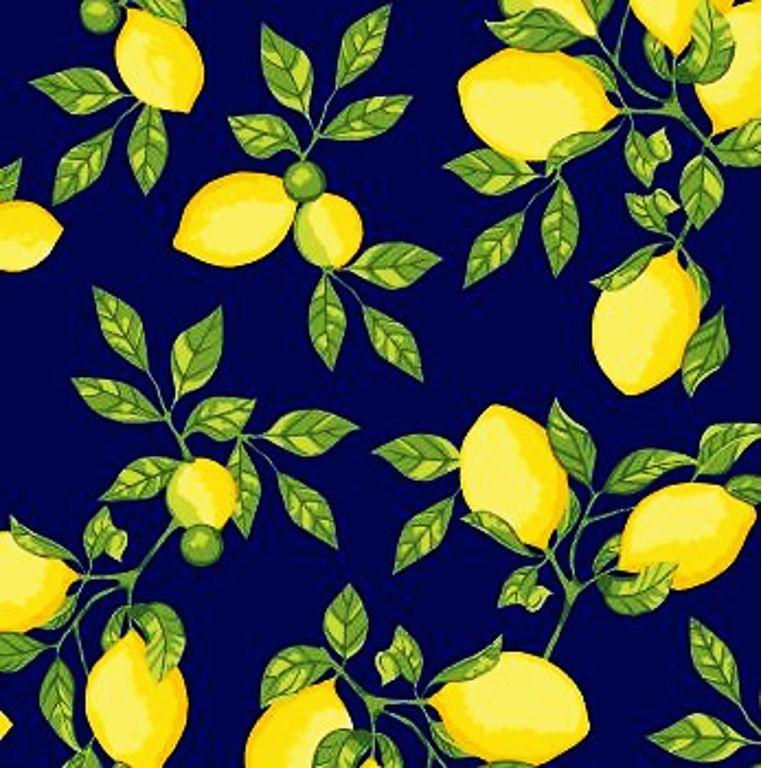 Tecido Tricoline Limão Siciliano - Fundo Marinho - Preço de 50 cm x 150 cm