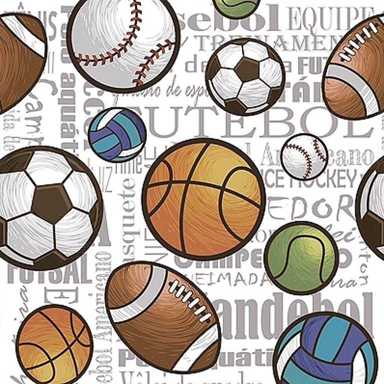 Tecido Digital Bolas Esportes Soltas - Fundo Branco