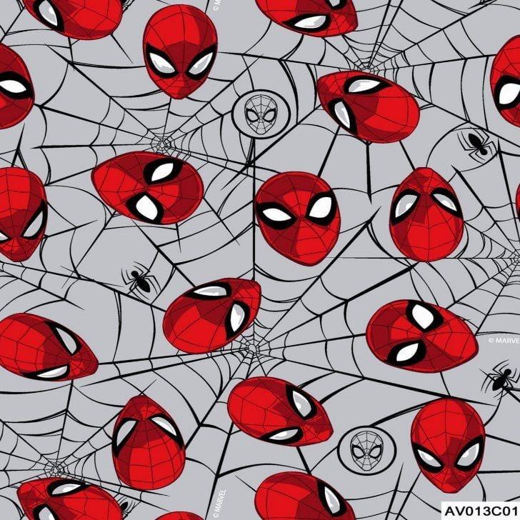 Tecido Tricoline Máscaras do Homem Aranha 2 - Fundo Cinza - Coleção Marvel - Preço de 50 cm x 150 cm