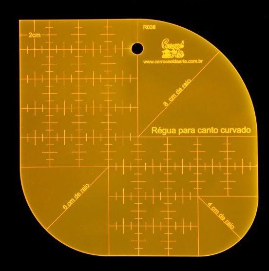 Régua para Patchwork Canto Curvado - 16cm x 16cm