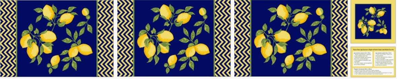 Tecido Tricoline Kit Jogo Americano e Pegador de Panela - Limão Siciliano - 31 cm X 150 cm
