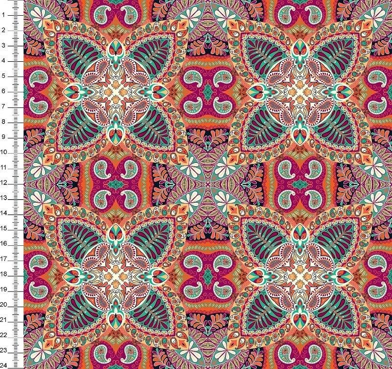 Tecido Digital - Mandala - Fundo Laranja
