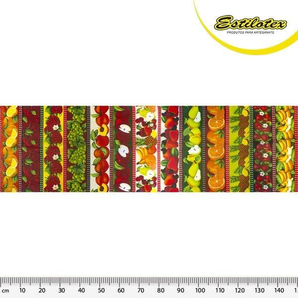 Tecido Tricoline Estampa de Barrado de Frutaria: Laranja, Cereja, Uva, Pêssego, Maçã, Caju, Pêra, Laranja, Abacaxi e Banana