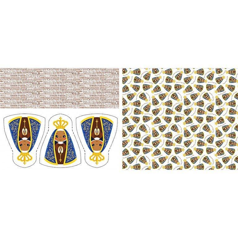 Tecido Tricoline Almofada - Nossa Senhora Aparecida - Preço de 60 cm x 150 cm