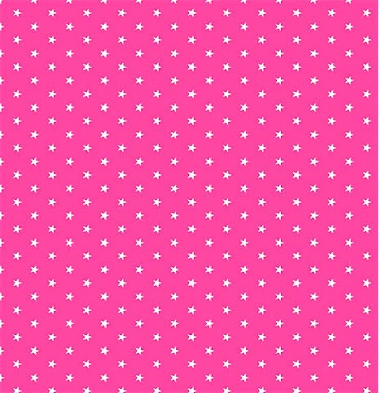 Tecido Tricoline  Estampa Mini Estrela Branca - Fundo Rosa Flamingo
