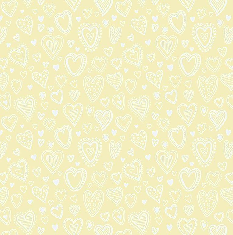 Tecido Tricoline Multi Corações - Creme - Preço de 45 cm x 150 cm