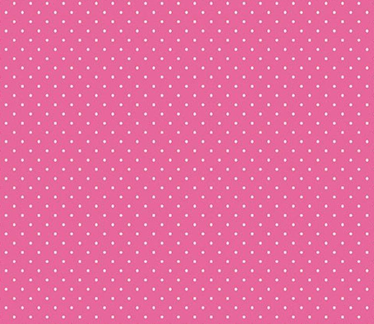 Tecido Tricoline  Estampa Micro Poá Branco com Fundo Pink