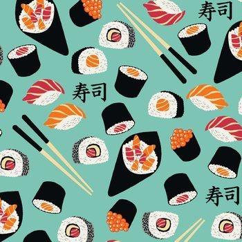 Tecido Tricoline Estampado de Sushi - Fundo Tiffany - Coleção Sushi Bar