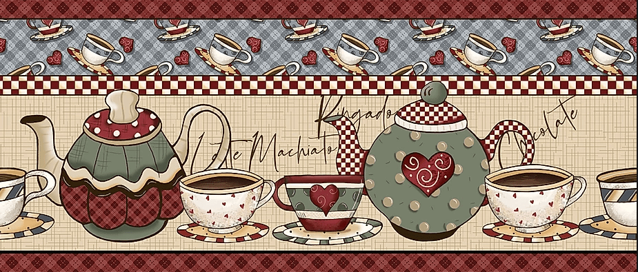 Tecido Tricoline Digital de Barrados Faixas Hora do Café  - Preço de 50 cm X 150 cm
